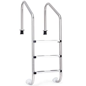 Goplus Swimming Pool Ladder for In Ground Pools Heavy Duty 3-Step Stainless Steel Pool Step Ladder with Easy Mount Legs, Weight Capability 330 lbs