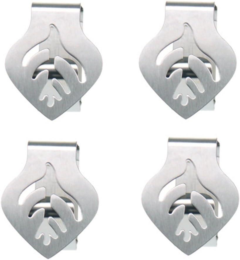 Konoko - Pinza para mantel, 4 piezas, acero inoxidable, diseño de hojas, soporte de cruz para mesa, bricolaje, fiesta, barbacoa Tamaño libre plata