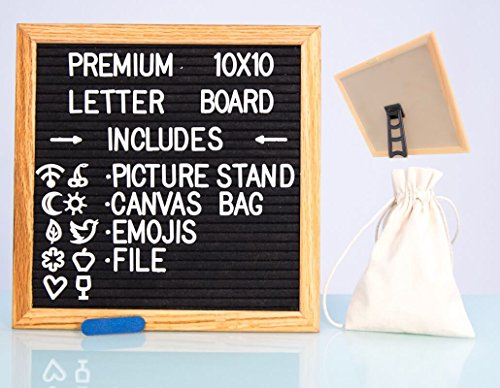 Changeable Felt Letter Board 10x10 inches - Includes Bonus Picture Stand & Sawtooth Hanger, Free Canvas Bag, Emojis, File, & 300 characters | Wooden Oak Message Sign Board
