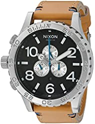 Nixon Mens 51-30 Chrono Quartz Leather Watch, Color:Beige (Model: A1242299-00)