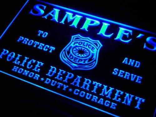 tk1078-b Wood's Police DEPT Department Badge Policemen Bar Beer Neon Light Sign by AdvPro Name (Image #1)