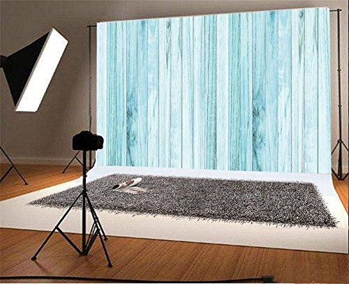 Laeacco 7x5FT Vinyl Backdrop Photography Background Baby Blue Painted Wood Texture Vintage Grunge Vintage Wood Floor Wall Background Children Baby Kids Adults Portraits Backdrop Photo Studio Props by Laeacco