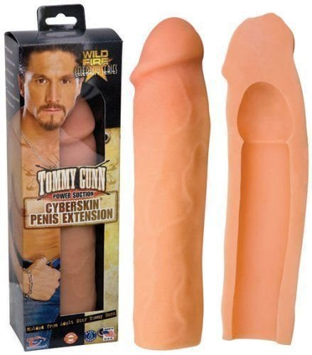 CyberSkin Tommy Gunn Penis Extension Sleeve Power Suction Cock Extender Waterproof (Tommy Gunn-FBA)