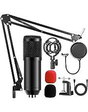 AMZATEK USB Micrófono Kit Condensador Profesional Grabación 192khz,Micrófono Condensador para Radiodifusión y Grabación,Soporte Brazo Tijera con Suspensión Ajustable BM828