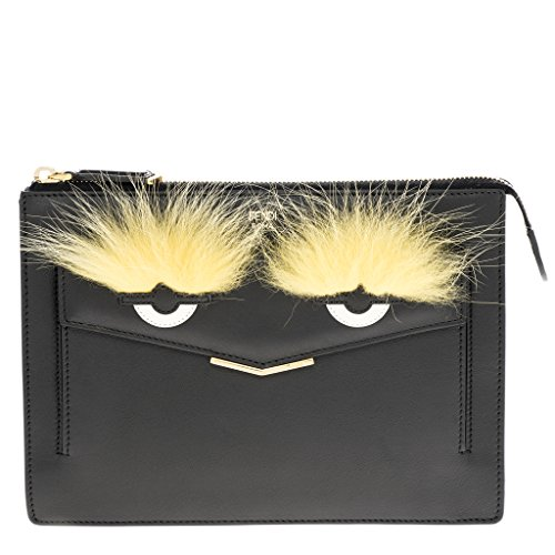 Fendi-Womens-Bag-Bugs-Mini-Pouch-With-Fur-Black