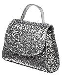 Gymboree Little Girls' Glitter Top Handle Bag, Silver, NS