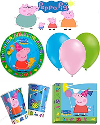 Peppa pig cumpleaños - Kit de cumpleaños 8 Personas: Amazon ...