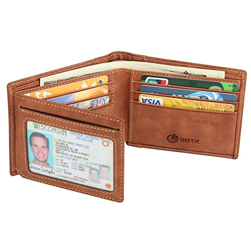 Men's Wallet - RFID Blocking Cowhide Leather Vintage Trifold Wallet (Brown Tan) ()