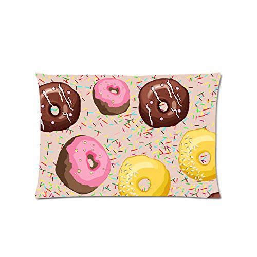 Tobe Yours Sweet Donuts Lovely Square Pillowcase Pillowslip Pillow Case Cover 24x16 inch (Donut 16in)