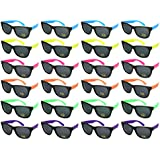 Edge I-Wear 24 Pack High Quality Neon Horned Rim Sunglasses with 100% UV Protection (Made in Taiwan)