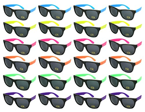 Edge I-Wear 24 Pack 80s Neon Party Sunglasses for Adult Party Favors with CPSIA certified-Lead(Pb) Content Free 5402RA/SET-24 -