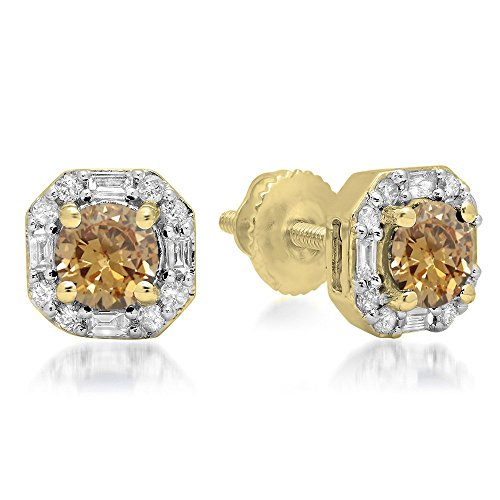 Dazzlingrock Collection 1.40 Carat (ctw) 10K Round Champagne & Baguette & Round Diamond Ladies Stud Earrings, Yellow Gold