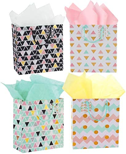 "4 Pack 13"" Large Paper Gift Bags with Tissue Paper Geometry Party Bags with Handle Assorted Colors (4, Geometry with Tissue Paper)"