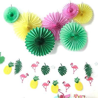 Sunbeauty Decoration Verano Summer Party Papel Rosa y Fenicottero Pi/ña Verde y Rosa