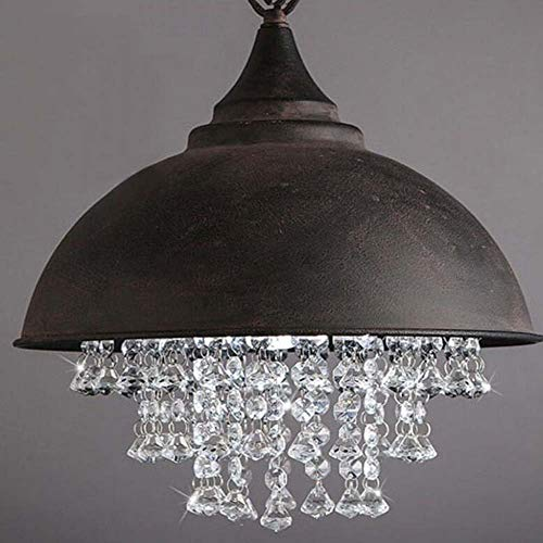 Antique Pot Cover Pendant Lamp Industrial Style Crystal Chandelier Wrought Iron Single Lid Luxury Parlour Hotel Decorative Lights, BOSS LV ()