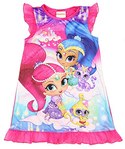 Nick Jr Shimmer And Shine and Pets Nightgown for Little Girls (6) (Pink Genie Costume)
