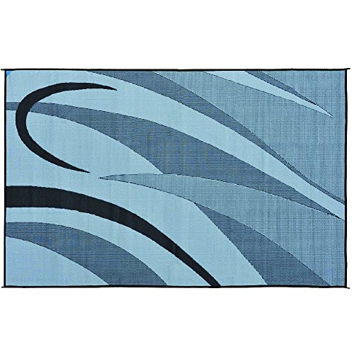 Stylish Camping GA1 Reversible Graphic Patio Mat-8' x 12', Black/Silver