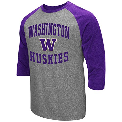 (Colosseum Men's NCAA-Raglan-3/4 Sleeve-Heathered-Baseball T-Shirt-Washington Huskies-Large)