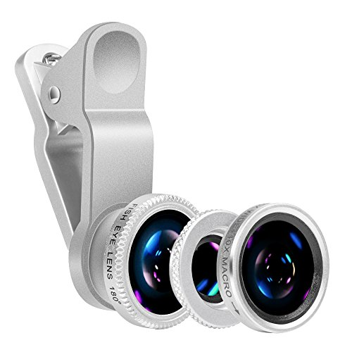 Universal 3 in 1 Camera Lens Kit Clip-On 180 Degree Supreme Fisheye + 0.65X Wide Angle+ 10X Macro Lens for iPhone7, iPhone 6s/6s Plus, iPhone 6/6 Plus,iPhone 5S Samsung S7 Android (Silver)