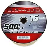 GLS Audio Premium 16 Gauge 500 Feet (152.40 meters) Speaker Wire - True 16AWG Speaker Cable 500ft Clear Jacket - High Quality Spool Roll 16G 16/2 Bulk