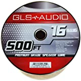 GLS Audio Premium 16 Gauge 500 Feet Speaker Wire - True 16AWG Speaker Cable 500ft Clear Jacket - High Quality 500' Spool Roll 16G 16/2 Bulk