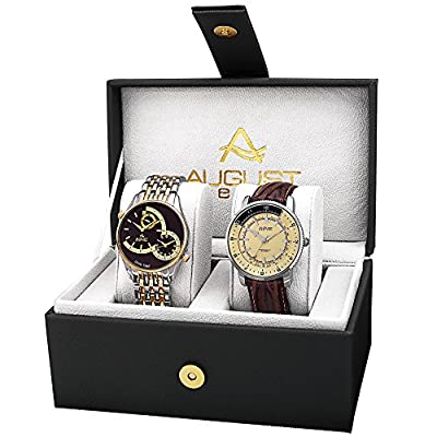 August Steiner AS8199TTG Watch with Black, White/Black, Cream Dial and Two Tone, Brown Bracelet