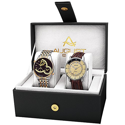 Watch Bracelet Dial Cream (August Steiner  AS8199TTG  Watch with Black, White/Black, Cream Dial and Two Tone, Brown  Bracelet)