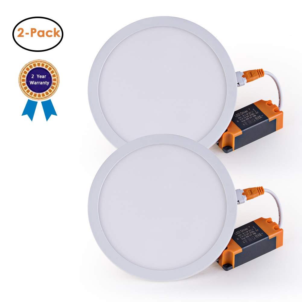 Tonnled 18W Flat LED Panel Light, Round Ultrathin Detachable Card Spring Adjustable Aperture Diameter 2.5''-6'', 1350lm, Daylight 6000K, LED Recessed Ceiling Lights, Commercial Lighting-2 Pack