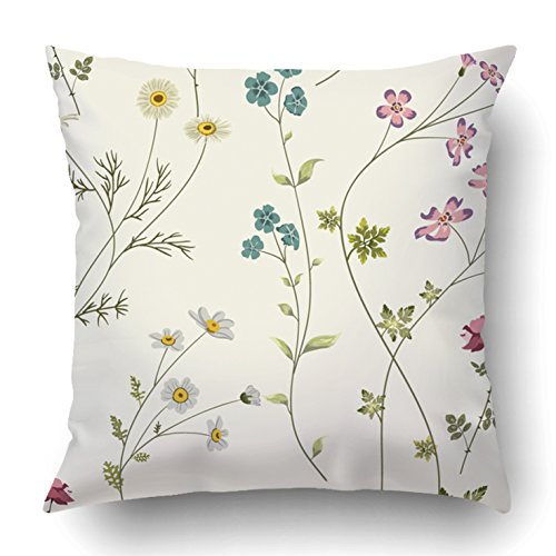 Emvency Throw Pillow Covers White Botanic Retro With Flowers Colorful Floral Plant Elegant Small Leaf Rose 18 x 18 Inch Square With Hidden Zipper Polyester Home Sofa Cushion Decorative Pillowcase