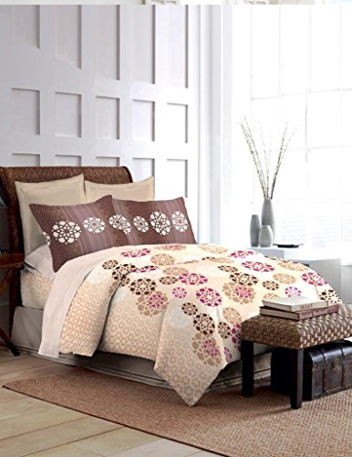 Bombay Dyeing Foliage 130 TC Polycotton Double Bedsheet with 2 Pillow Covers – Brown