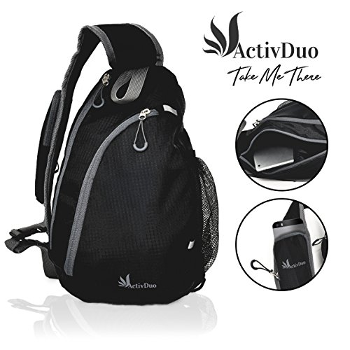 """Black Small Crossbody Waterproof Sling Shoulder Backpack 