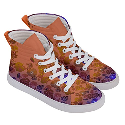 CowCow Womens Vintage Fashion of Flowers on Womens High Top Skate Sneakers Coral & violet CDG4U1Fh3B