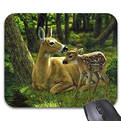 Deer in Forest Print Mouse Pads - Stylish Office Accessories (9.84 x 7.87in)