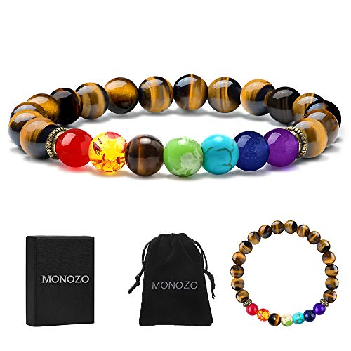 (MONOZO Chakra Beads Bracelet - 7 Chakra 8mm Natural Tiger Eye Stone Anxiety Bracelet Yaga Gemstone Beads Stress Relief Men Women Bracelets Bangle)