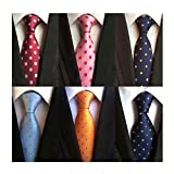 WeiShang Lot 6 PCS Classic Men's 100% Silk Tie Necktie Woven JACQUARD Neck Ties (Style 3)