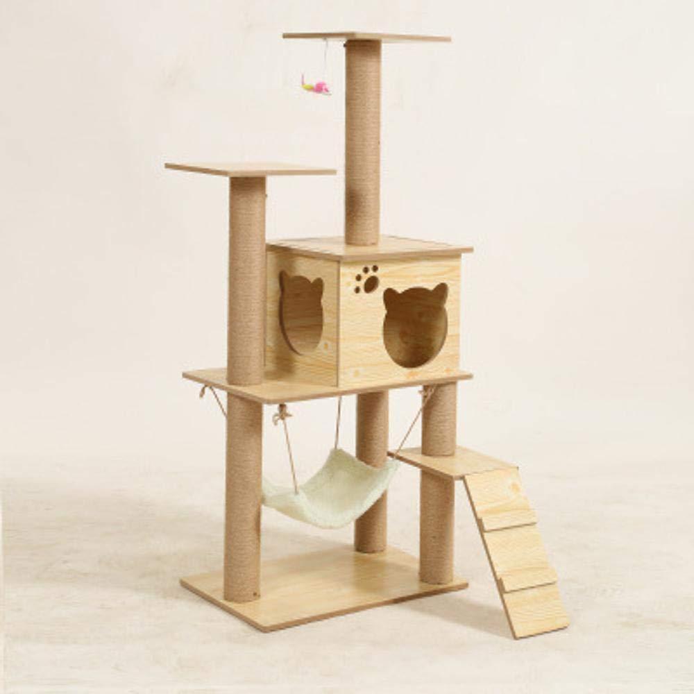 Hexiansheng Cat Climb Trees Solid wood Cat Supplies Cat Claw Board solid wood shelf pine climbing frame 60  40  135cm Wood