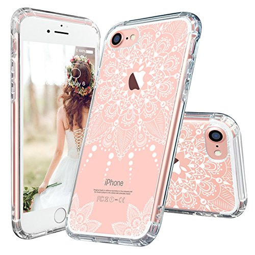 Price comparison product image iPhone 7 Case, iPhone 7 Clear Case, MOSNOVO White Henna Mandala Floral Lace Clear Design Printed Transparent Plastic with TPU Bumper Protective Back Phone Case Cover for Apple iPhone 7 (4.7 Inch)