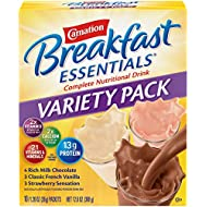 Carnation Breakfast Essentials Powder Drink Mix Variety Pack, Complete Nutritional Drink, 10 Count Box of 1.26 Ounce Packet