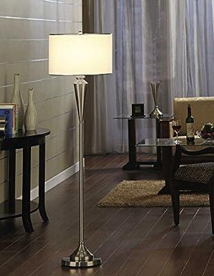 King's Brand Fabric Shade Standing Floor Lamp, Brushed Nickel