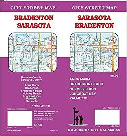 Map Of Bradenton Florida.Sarasota Bradenton Florida Street Map Gm Johnson 9781770688094