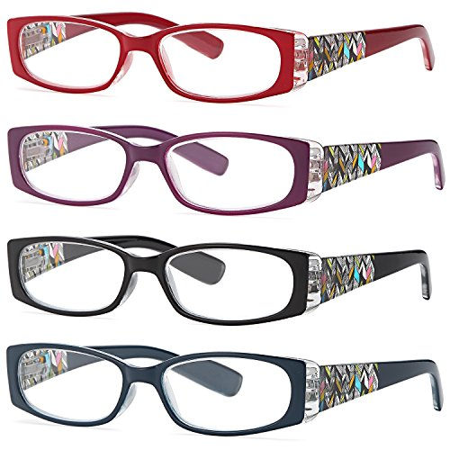 ALTEC VISION Pack of 4 Stylish Pattern Frame Readers Spring Hinge Reading Glasses for Women - 1.50x - Shape Frames Your Face For