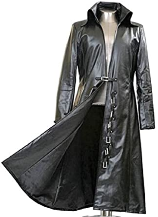 e773fd77cd9 Gothic Master Black Faux Leather Long Trench Coat at Amazon Men s ...
