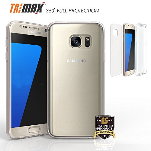 Tri Max for Galaxy S7 Edge Case, Ultra Slim 360°Protection Built in Screen Protector Crystal Clear Case[Shock Absorbing][Full Body] Flexible Gel Cover (2 Piece Front & Back)