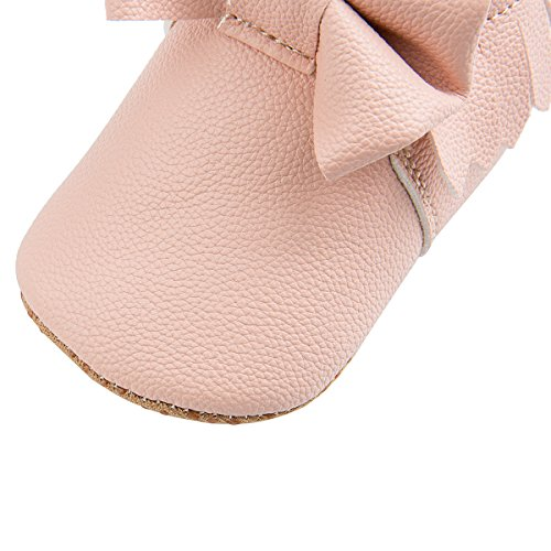 Dicry Baby Girls Leather Moccasins Elastic Cuffs Non-Slip Soft Sole Crib Shoes With Tassel Bowknot For 12-18 Months Toddler Pink - Image 3