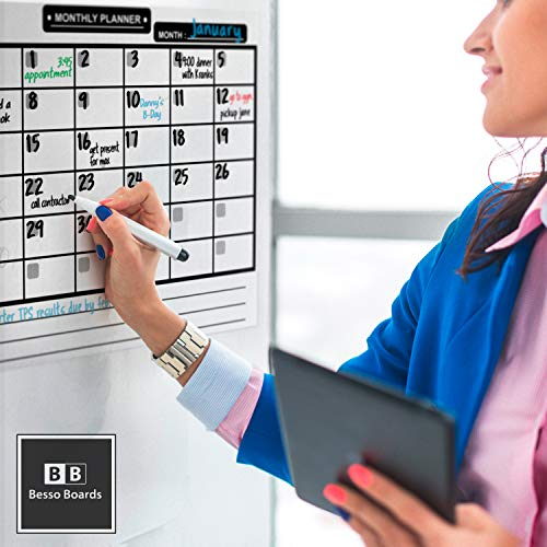 Magnetic Dry Erase Calendar for Refrigerator [17x12] & Weekly Magnetic Calendar | Monthly Whiteboard Wall Calendar and Fridge Board Planner | Dry Erase Markers & Eraser | 2019 Home or Office Photo #3