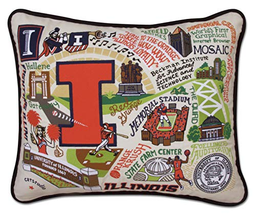 Catstudio- University of Illinois Embroidered Throw Pillow - 16