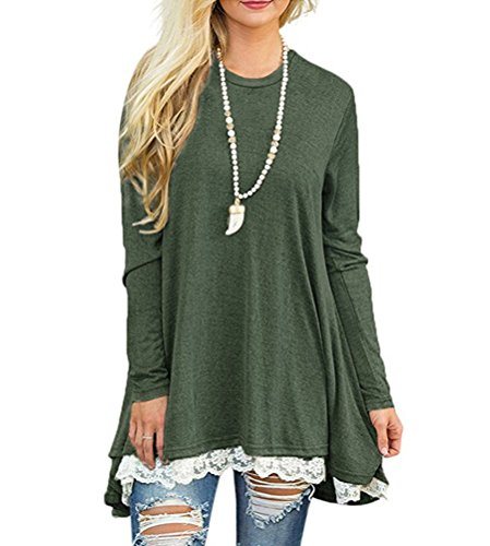 Myobe Women's Casual Scoop Neck A-line Solid Color Lace Long Sleeve Pullover Tunic Tops Blouse T-shirt Shirt Dress (XXL, Green)