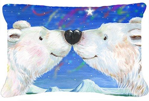 Caroline's Treasures Polar Bears Polar Kiss by Debbie Cook Fabric Decorative Pillow, 12