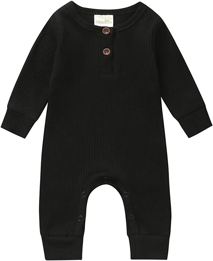 Ayalinggo Unisex Newborn Baby Girl Boy Onesie Footie Pajamas Sleeper Knitted Romper Jumpsuit Fall Solid Outfits Clothes