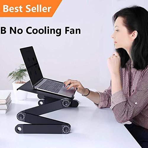 - Adjustable Folding 360°Notebook Laptop Desk Table Stand Bed Tray No Cooling Fan (Black) (B)